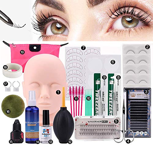 Pro 19pcs False Eyelashes Extension Practice Exercise Set, Professional Head Model Lip Makeup Eyelash Grafting Training Tool Kit for Makeup Practice Eye Lashes Graft