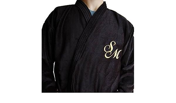 Albornoz para hombre personalizados, kimono con monograma, de color negro, tamaños M, L, XL, XXL, 100% algodón, negro, Medium: Amazon.es: Hogar