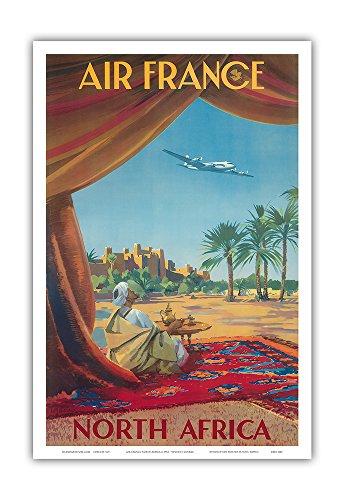 (North Africa - Saharan Desert - France - Vintage Airline Travel Poster by Vincent Guerra c.1950 - Master Art Print - 12in x 18in)