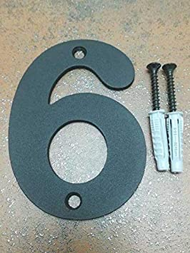 15 cm de Alto x 3 cm de Grosor Negro Satinado Arthifor N/úmero 6 Chapa para Casa Exterior