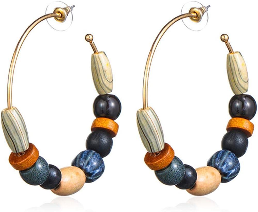 RRWLPendiente Pendientes colgantes bohemios Pendientes colgantes de piedra natural nacional retro para mujer Regalo de vacacionesnegro