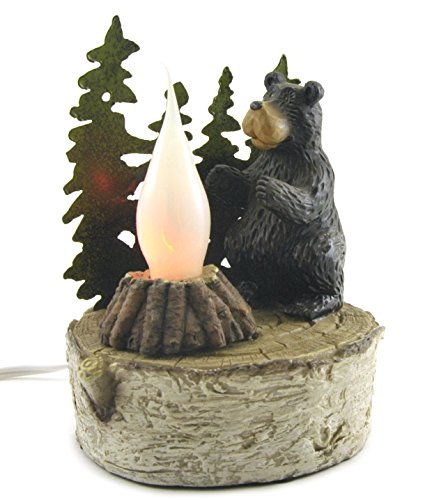 Flickering Campfire Night Light Lamp with Bear Figure, Plug-in Tabletop, 6-inch