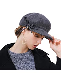 FADVES Women Beret Wool Felt Cap Newsboy Cabbie Beret Cap Painter Visor Hats