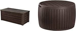 Keter Westwood 150 Gallon Resin Large Deck Box-Organization and Storage for Patio Furniture, Brown & Circa 37 Gallon Round Deck Box, Patio Table for Outdoor Cushion Storage, Brown