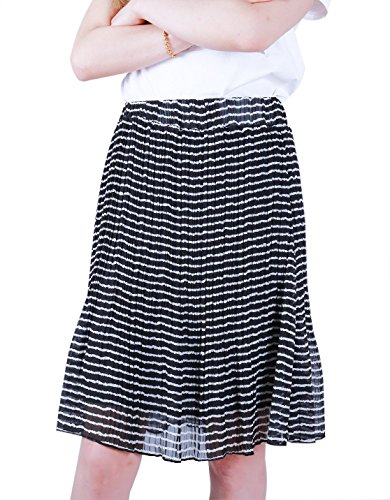 Favelem Women's Lightweight High Waist A Line Pleated Knee Length Chiffon Skirts