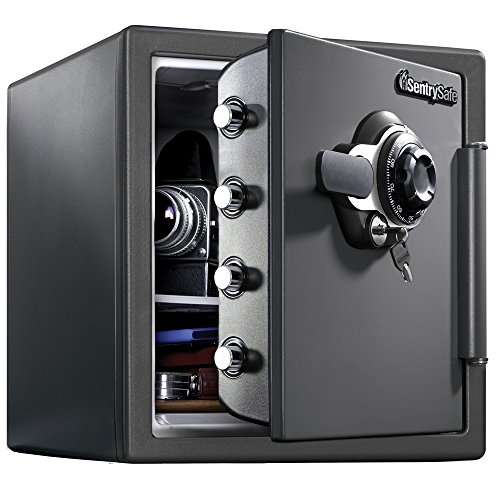 SentrySafe SFW123DSB Fireproof Safe and Waterproof Safe with Dial Combination 1.23 Cubic - Floor Door Safe