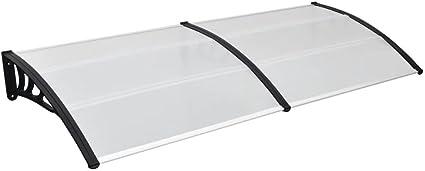 vidaXL T/ürvordach Haust/ürdach Haust/ür /Überdachung T/ürdach Pultvordach Vordach Haust/ürvordach Schwarz Transparent 150x80cm PC Aluminiumstab