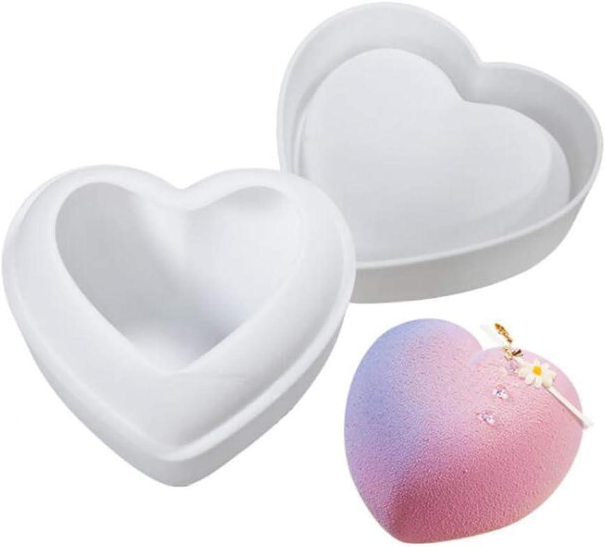 VOANZO Molde de silicona en forma de corazón Molde de silicona 3D para hornear para manualidades de chocolate, jabón hecho a mano, pudín, pastel (Love-228ml)