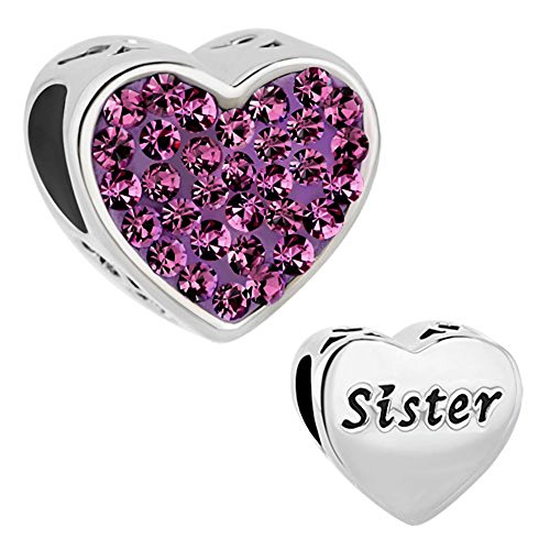 Third Time Charm Sister Charm Purple Heart Beads For Charms Bracelet (Best Sister Charms For Pandora Bracelets)