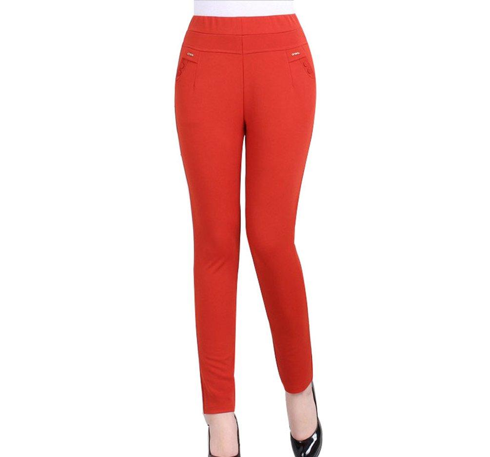 ZKOO Pantalones Elásticos Mujeres Pantalones De Cintura Alta Mujer Pantalones del Lápiz Delgados Polainas Leggings