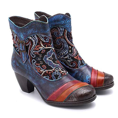 Moda Jacquard Mano Blue Costura Mujer A De Hecha Botas Craft Cuero zapatos Color Contraste YCB0zwqqx