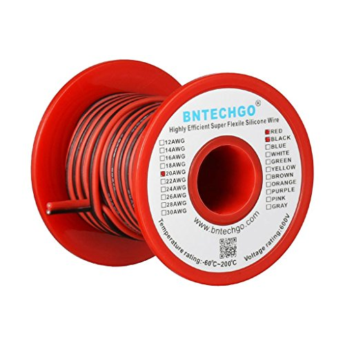 BNTECHGO 20 Gauge Flexible 2 Conductor Parallel Silicone Wire Spool Red Black High Resistant 200 deg C 600V for Single Color LED Strip Extension Cable Cord,Model,Lead Wire 25ft Stranded Copper Wire by BNTECHGO (Image #3)