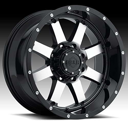 Gear Alloy 726M Big Block Black with Machined Face and Spot Milled Lip Accents Wheel with Machined Finish (17x9/8x6.50, 18mm Offset) ()
