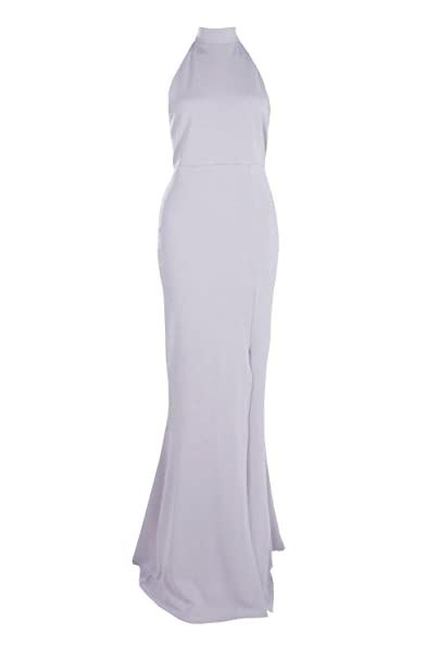 098782ae93c8 Boohoo Womens Faith High Neck Extreme Split Front Maxi Dress in Lilac size 6