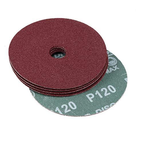 uxcell 4-Inch x 5/8-Inch Aluminum Oxide Resin Fiber Discs, Center Hole 120 Grit Sanding Grinding Discs, 15 -