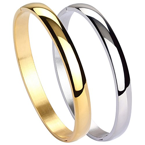 MILAKOO 2 Pcs Stainless Steel Bracelet for Women Girls High Polished Bracelet Grooved Cuff Bangle ()