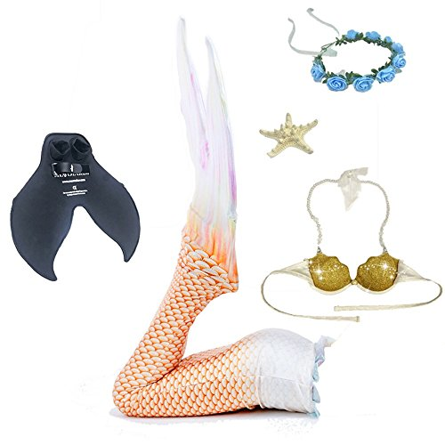 YuFLangel Girl Mermaid Tail Swim Suit Children Mermaid Swimwear Bikini (Color : Gold, Size : (Golden Wish Mermaid Costumes)