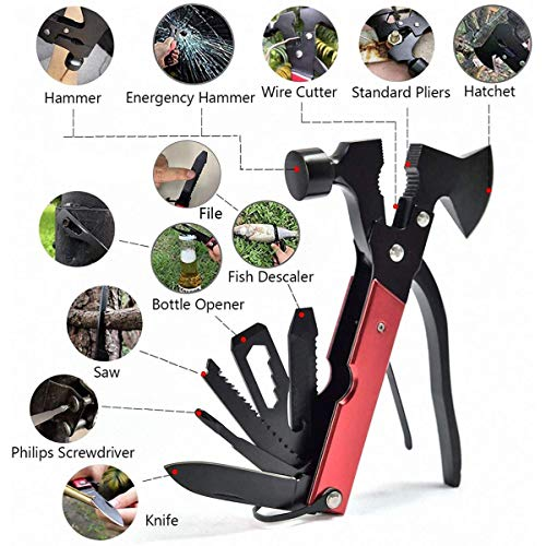 Multi-function tool, men's gift-18-in-1 stainless steel multi-function tool for emergency escape, camping, travel, family, multi-function outdoor survival hunting kit, axe, pliers