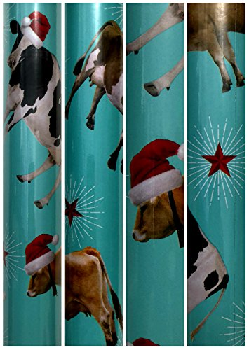 Christmas on the Farm Cow with Santa Hat Christmas Gift wrapping Paper Large 100 sq ft 1 Roll