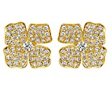 10K Solid Gold Round Cut White Cubic Zirconia Large Flower Stud Earrings