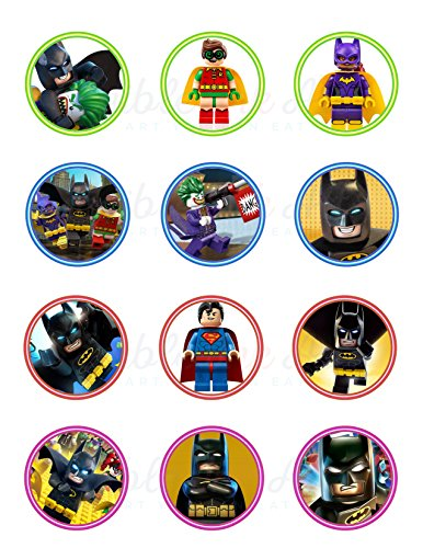 Lego Batman Edible Cupcake Toppers (12 Images) Cake Image Icing Sugar Sheet Edible Cake Images ~ Best Quality Edible Images for Cupcakes ()