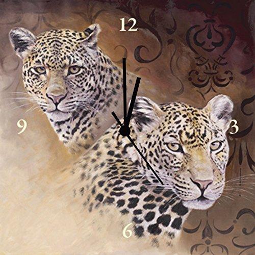 Artland Wand-Funk-Analog-Uhr Digital-Druck Leinwand auf Holz-Rahmen gespannt mit Motiv A. Heins Leoparden - Portraits Tiere Wildtiere Raubkatze Malerei Braun A1FZ