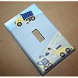 Construction Truck Boys Nursery Bedroom Single Light Switch Cover LS0066 (Single Standard)