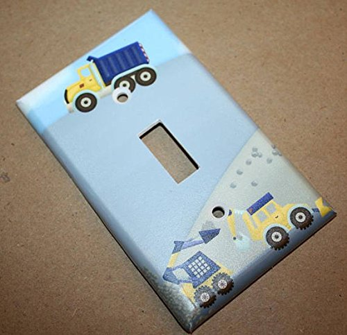 Construction Truck Boys Nursery Bedroom Single Light Switch Cover LS0066 (Single Standard) Toad and Lily LS0066a