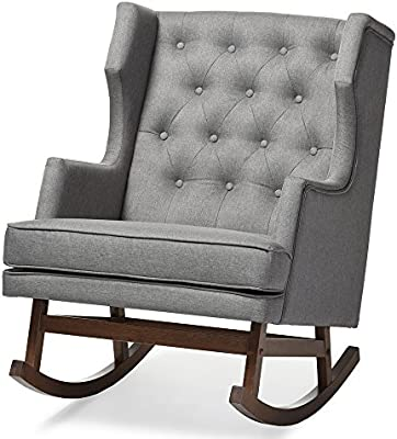 Miraculous Baxton Studio Iona Mid Century Retro Modern Fabric Upholstered Button Tufted Wingback Rocking Chair Grey Customarchery Wood Chair Design Ideas Customarcherynet