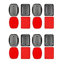ASOCEA 3M VHB Adhesive Mounts 4 Curved 4 Flat Sticker for Gopro Hero 6 5 Hero 4 Silver Action Cameras for Helmet Surfboard Skateboard