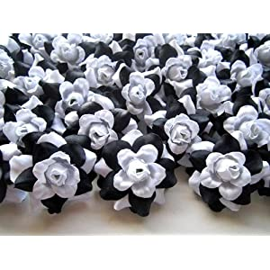 "(100) Silk Black White Roses Flower Head - 1.75"" - Artificial Flowers Heads Fabric Floral Supplies Wholesale Lot for Wedding Flowers Accessories Make Bridal Hair Clips Headbands Dress 101"