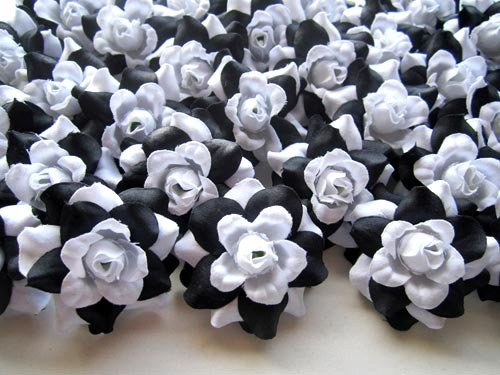 (100) Silk Black White Roses Flower Head - 1.75