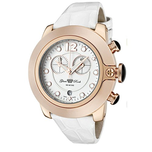 Glam Rock Women's GR32166 SoBe Chronograph White Dial White Shiny Patent Leather Watch