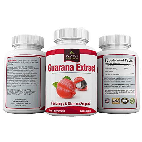 Guarana Extract All Natural Herbal Energy Supplement For