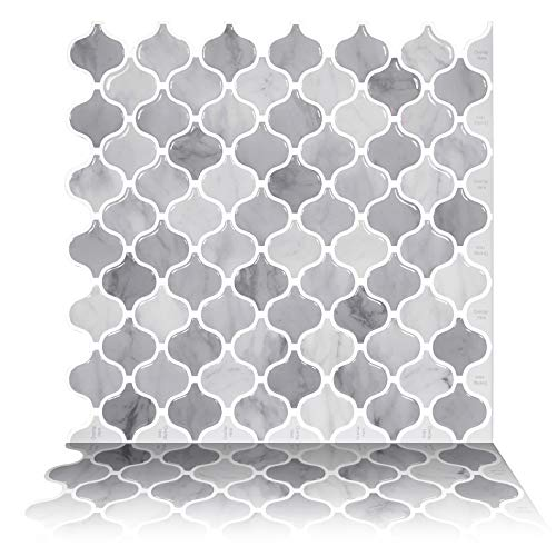 Tic Tac Tiles 1-Sheet 12 x 12 Peel and Stick Self Adhesive Removable Stick On Kitchen Backsplash Bathroom 3D Wall Sticker Wallpaper Tiles in Damask Marble