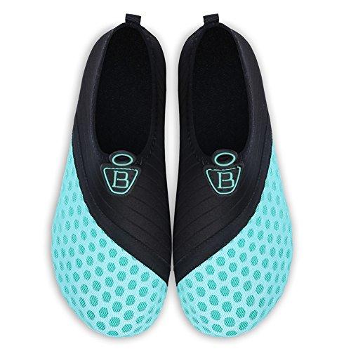 Barerun Barfuß Quick-Dry Wasser Sportschuhe Aqua Socken für Schwimmen Beach Pool Surf Yoga für Frauen Männer Schwarz Hellblau