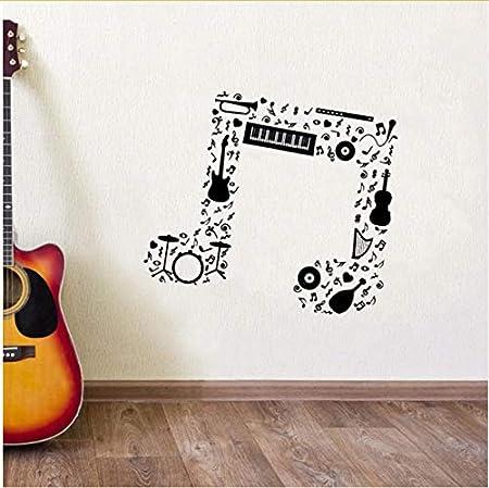 Yangll Nota Musical Etiqueta De La Pared Guitarra Saxofón Flauta ...