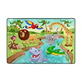 My Little Nest Cartoon African Jungle Animals Kids Play Mat Baby Crawling Carpet Non Slip Soft Educational Area Rug for Living Room Bedroom Classroom 4' x 6'