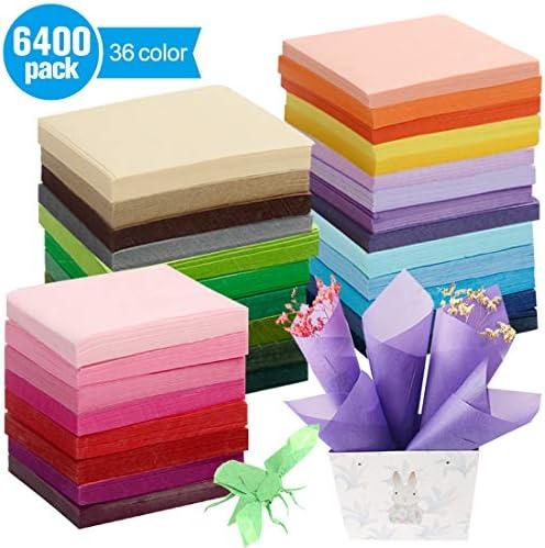 Superise 6400 Sheets 2inch Art Craft Paper Squares Bulk 32 Multicolor for Art Paper Craft Scrunch DIY Craft Tracing Scrapbooking Art Kid Craft Embellishments Rainbow School Supplies