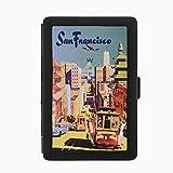 Perfection In Style Black Color Metal Cigarette Case D-025 San Francisco Vintage Travel