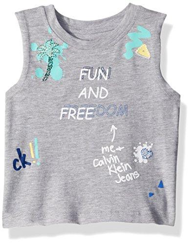 Calvin Klein Big Girls' Broderie Tank, Light Grey Heather, Large