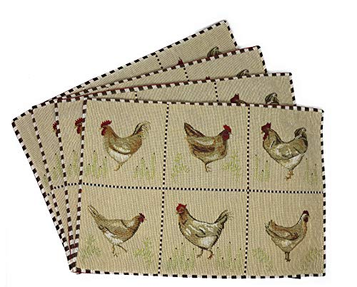 Tache Home Fashion Country Farmhouse Rooster Hens Antique Vintage Traditional Home Decorative Woven Tapestry Placemats ()