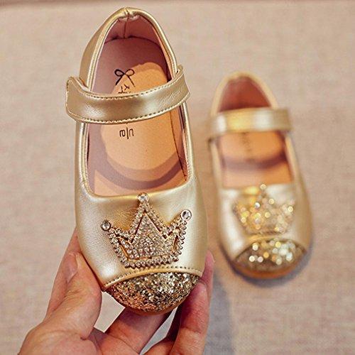 Ouneed® Krabbel schuhe ,Kleinkind Kinder Mädchen Baby Perlen Prinzessin glitzer Bling Crown Sandalen einzigen Schuhe Gold