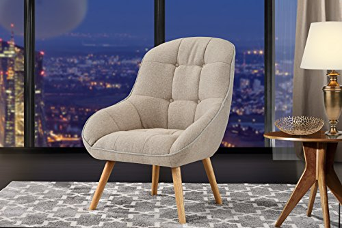 Accent Chair for Living Room, Upholstered Linen Chairs with Tufted Button Detailing and Natural Wooden Legs (Beige)