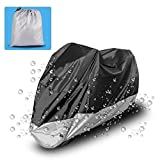 LEDKINGDOMUS Motorcycle Cover Universal Fit Oxford Fabric Waterproof Breathable Rain Sun UV Dust Outdoor All Weather Protection With Lock Hole(Fits Motorbike up to 96
