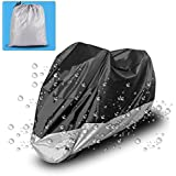 """Motorcycle Cover Universal Fit Oxford Fabric Waterproof Breathable Rain Sun UV Dust Outdoor All Weather Protection With Lock Hole(Fits Motorbike up to 96"""", Silver and Black)"""