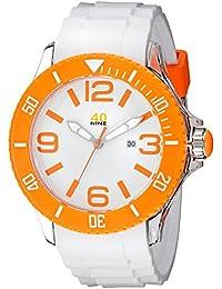 Men's 40NINE01/ORANGE3 Extra Large 50mm Analog Display Japanese Quartz White Watch