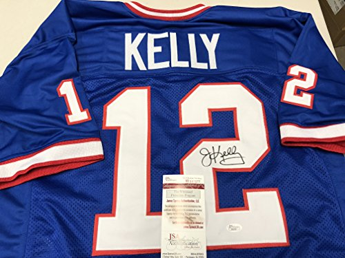 Jim Kelly Autographed Signed Buffalo Bills Blue Custom Jersey JSA Wtinessed COA & Hologram