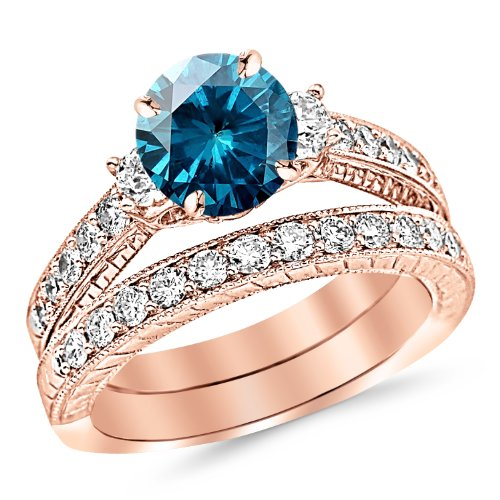 2.53 Carat 14K Rose Gold Three Stone Vintage With Milgrain & Filigree Bridal Set with Wedding Band & Diamond Engagement Ring with a 1.5 Carat Blue Diamond Center (Heirloom Quality)