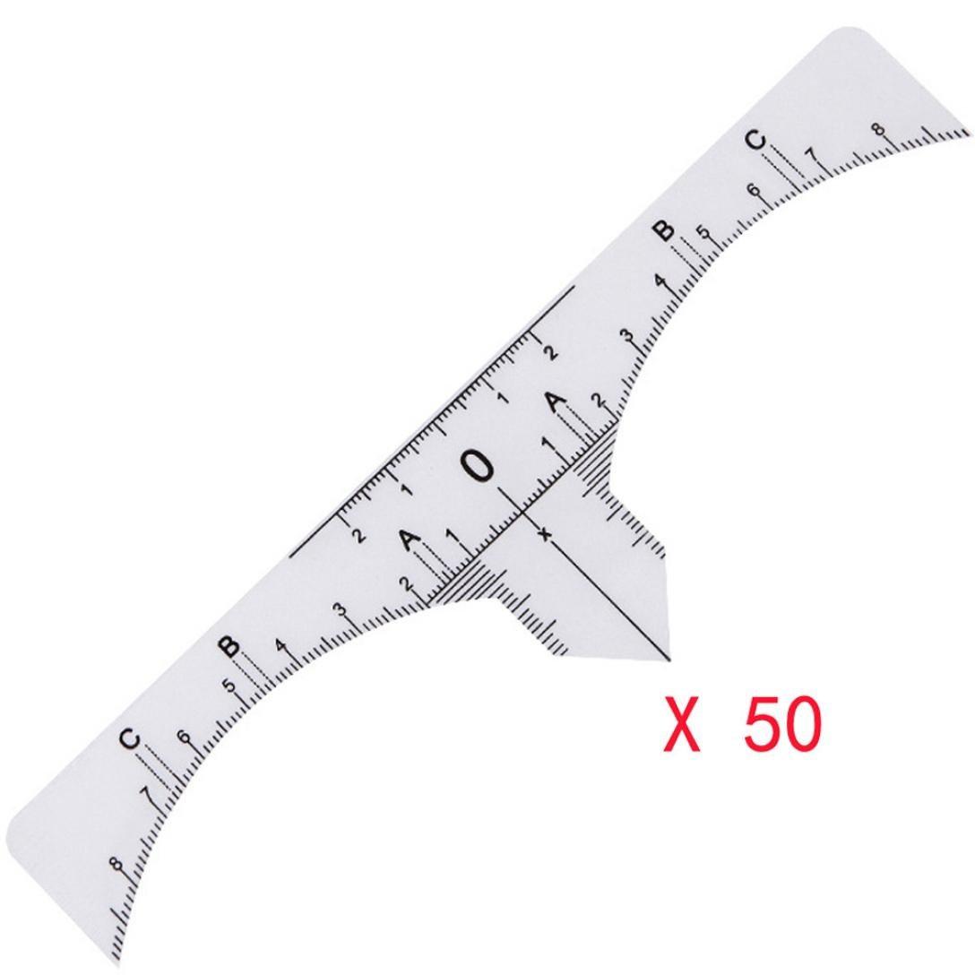Eyebrow Ruler, SMYTShop 50Pcs Disposable Eyebrow Ruler Sticker, Adhesive Eyebrow Microblading Ruler Guide Tool for Makeup (50 PCS)